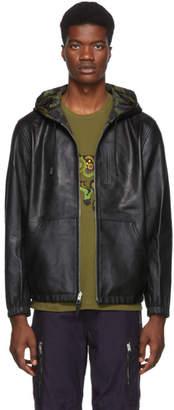 Coach 1941 Reversible Black Leather Hooded Jacket