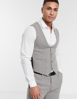 Asos Design DESIGN wedding skinny suit suit vest in gray wool blend micro houndstooth