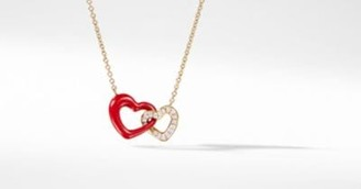 David Yurman Double Heart Pendant Necklace With Diamonds, Red Enamel