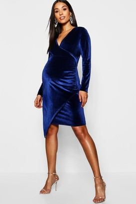 boohoo Maternity Velvet Plunge Ruched Side Midi Dress