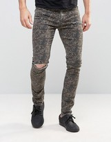 Asos Super Skinny With Knee Rip In Camo