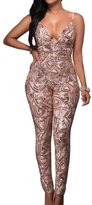 Aecibzo Women Sexy Sleeveless Sequin Jumpsuit Playsuit Rompers (M, )