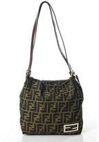 Fendi Brown Nylon Zucca Print Silver Tone Double Strap Tote Shoulder Handbag