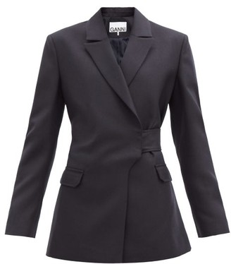 Ganni Double-breasted Belted Wool-blend Jacket - Navy