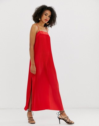 And other stories & cami pleated dress in red