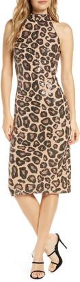 SHO High Neck Cheetah Print Dress