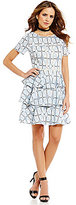 Gianni Bini Monique Short Sleeve Geo Lace Tiered Ruffle Dress