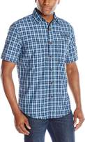 Izod Men's Short Sleeve Surfcaster Small Plaid Fishing Shirt