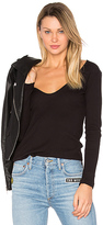 Lacausa Deep Scoop Long Sleeve Tee in Black. - size XS (also in )
