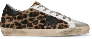 Golden Goose Superstar Distressed Leopard-print Calf Hair, Leather And Suede Sneakers - Leopard print