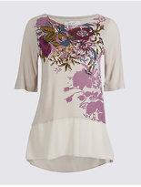 Per Una Floral Print Chiffon Hem Half Sleeve T-Shirt