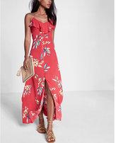Express Floral Print Ruffle Button Front Maxi Dress