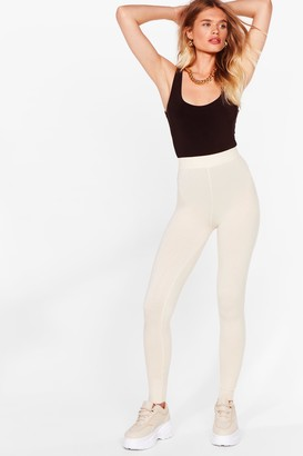 Nasty Gal Womens Knit's That Time Again High-Waisted Joggers - Cream