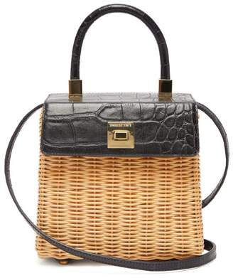 Sparrows Weave - The Classic Wicker And Leather Top-handle Bag - Womens - Navy