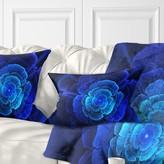Floral Fractal Flower in Dark Lumbar Pillow East Urban Home Color: Blue/Black