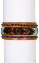 Natasha Accessories Faux Leather Beaded Bracelet