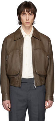 Lemaire Brown Leather Blouson Jacket