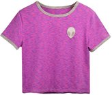 Cocobla ET Teen Girls 3D Print Aliens Crop Top Short Sleeve Striped T-Shirt