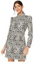 Rebecca Taylor Long Sleeve Dot Jersey Dress (Creme Brulee Combo) Women's Dress