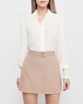 Express High Waisted Textured Grid A-Line Mini Skirt