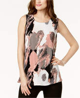 Alfani Printed Pleated Print Sleeveless Top, Created For Macy's
