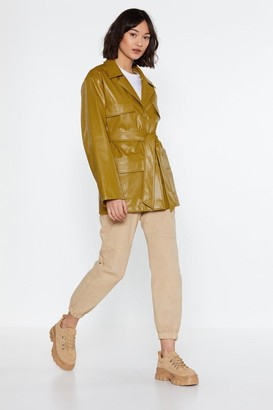 Nasty Gal Womens Longing for You Faux Leather Belted Jacket - Green - 6, Green