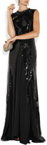 Nina Ricci Sequined-tulle, silk and lace gown