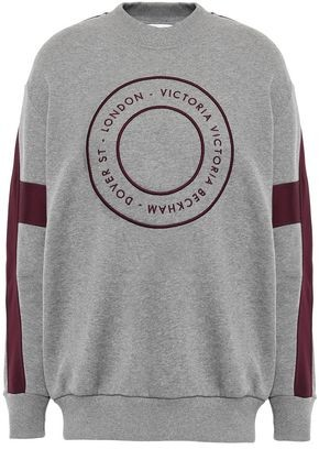 Victoria Victoria Beckham Satin-trimmed Embroidered French Cotton-terry Sweatshirt