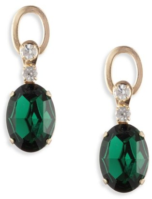 Dannijo Loewy 10K Goldplated & Green Swarovski Crystal Drop Earrings