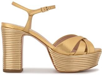 Schutz metallic platform sandals
