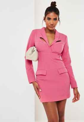 Missguided Fuchsia Corset Detail Tailored Blazer Dress