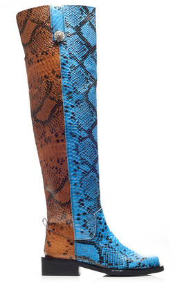 Ganni MC Snake-Effect Leather Knee Boots