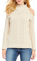 RD Style Cold Shoulder Mock Neck Sweater