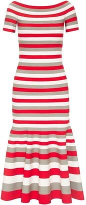 Oscar de la Renta Striped Off-Shoulder Dress