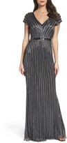 Mac Duggal Women's Beaded Mesh Gown