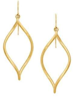 Lord & Taylor 14K Yellow Gold Oval Open Twist Dangle Earrings
