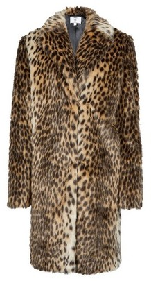 Dorothy Perkins Womens **Tall Animal Print Collar Long Line Coat
