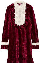 Anna Sui To The One I Love Lace-trimmed Crushed-velvet Mini Dress - Burgundy