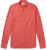 Incotex Slim-Fit Grandad-Collar Printed Cotton and Linen-Blend Shirt