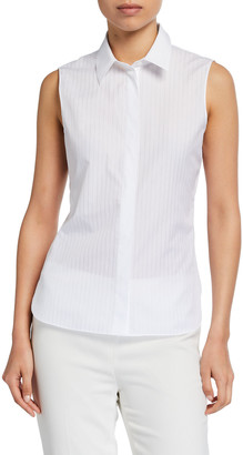 Theory Pinstriped Fitted Sleeveless Button-Down Shirt