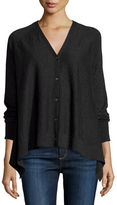 Neiman Marcus Superfine Button-Front Draped Cashmere Cardigan