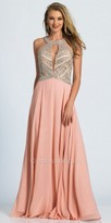 Dave and Johnny Geometric Crystalized A-line Prom Dress