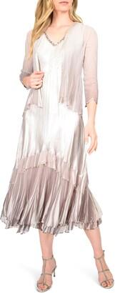 Komarov Floral Charmeuse & Chiffon Jacket Dress