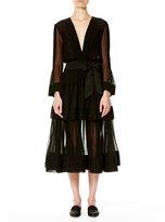 Carolina Herrera Deep-V Long-Sleeve Silk Dress, Black