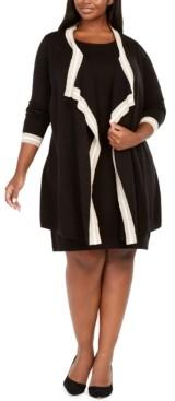 Jessica Howard Plus Size Attached-Jacket Contrast-Trim Dress