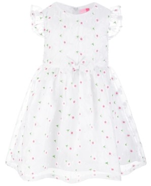 Good Lad Toddler Girls White Satin Party Dress with Gauze Tulle Overlay