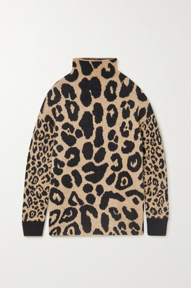Stella McCartney Leopard-intarsia Knitted Sweater - Brown