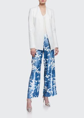 Lafayette 148 New York Riverside Floral Sequin Wide-Leg Ankle Pants