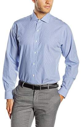 Brooks Brothers Men's Dress Non-Iron English Regent Stripe Shirt, (Blue 46), (Neck in. 17 Sleeve in. 35)