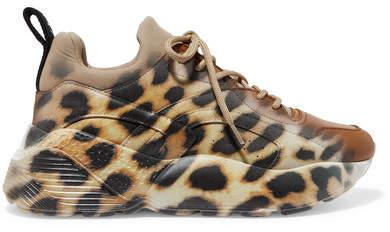 Stella McCartney Eclypse Neoprene-trimmed Leopard-print Faux Leather Sneakers - Leopard print